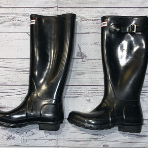 HUNTER Original Tall Black Glossy Rain Boots Sz 6